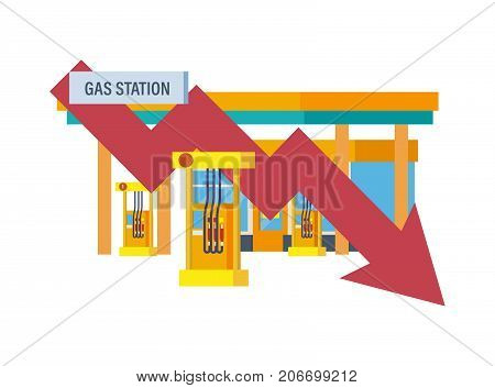 Concept of a gas station for cars. Car service. Rise and fall of gasoline prices, the trading of pricing courses. Vector illustration isolated.