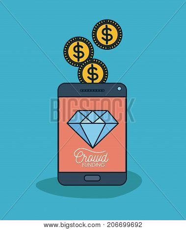 tablet device with text crowd funding and diamond in screen and coins on top in blue background vector illustration