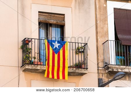 View Of The Balcony With A Flag. Before The Referendum On Independence, Tarragona, Catalunya, Spain.