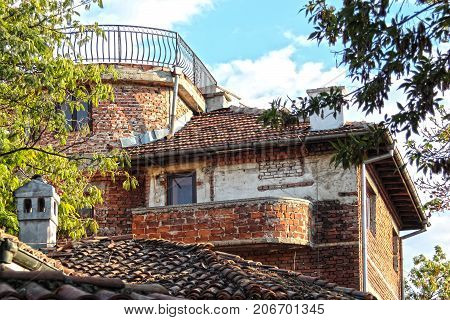 Brick ensemble in the Old Town of Plovdiv, Bulgaria