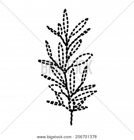 ramification with several leaves on dotted silhouette vector illustration