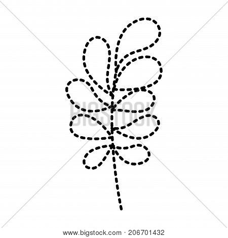 ramification with rounded leaves on dotted silhouette vector illustration