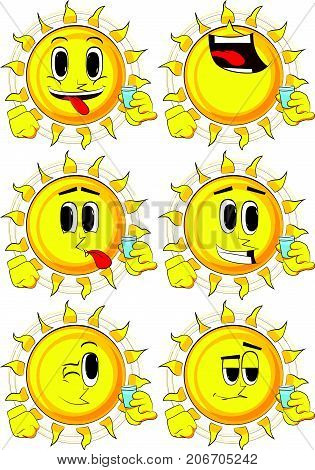 Cartoon sun drinking brandy. Collection with happy faces. Expressions vector set.