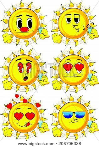 Cartoon sun drinking brandy. Collection with various facial expressions. Vector set.