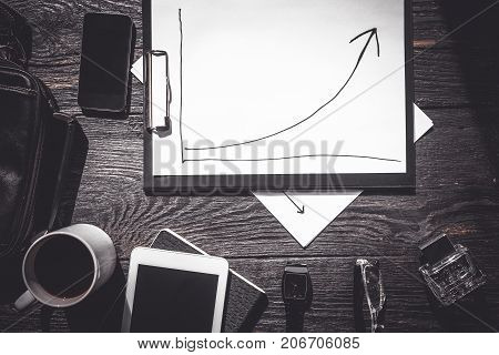 Schedule of successful business and men's accessories. The photo will be suitable for business of courses for the men's websites the websites about business and self-improvement