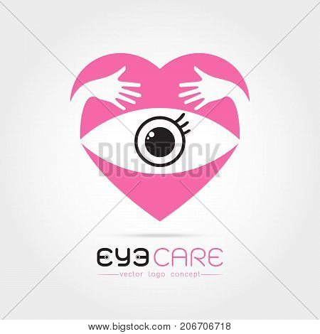 Vector illustration of abstract human eye in heart with hand hug concept. Logo design template. Concept for optical glasses shop oculist ophthalmology makeup stylist research. Natural organic eye care