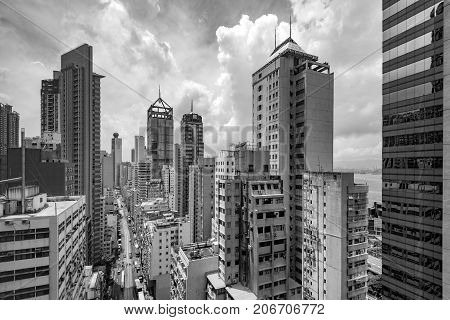 Dilapidated and densely populated residential Hong Kong China.