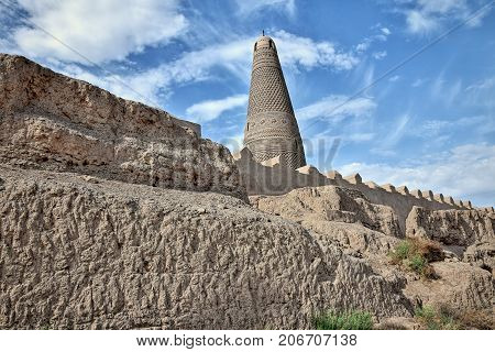 The Emin Minaret stands by the Uighur mosque in Turpan or Turfan in Xinjiang Uighur Autonomous Region of China. With its 44 m it´s count as the tallest minaret in China.
