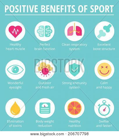 The health care, sport and human internal organs icon set. Positive benefits of sport exercises concept icons. Flat vector pictogram set of medicine and anatomy: heart, brain, respiratory system.