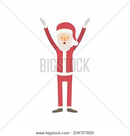 santa claus caricature full body with hands up hat and costume on colorful silhouette vector illustration