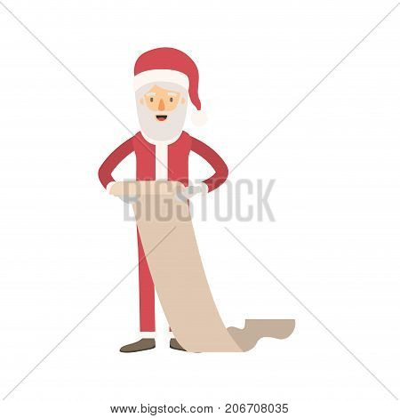 santa claus caricature full body holding a gift list in paper with hat and costume on colorful silhouette vector illustration