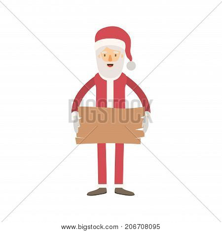 santa claus caricature full body holding a wooden piece with hat and costume on colorful silhouette vector illustration