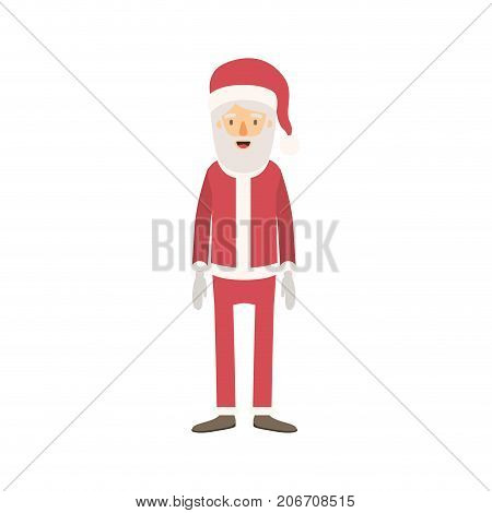 santa claus caricature full body with hat and costume on colorful silhouette vector illustration