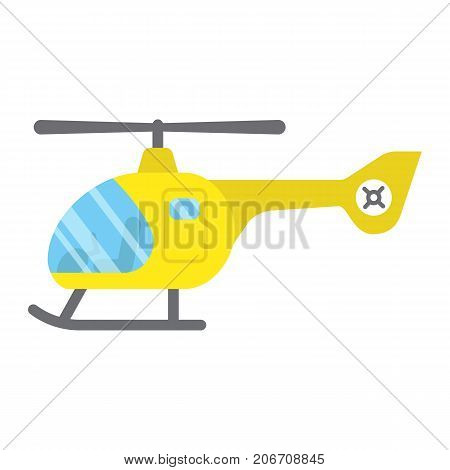Helicopter flat icon, transport and air vehicle, aircraft sign vector graphics, a colorful solid pattern on a white background, eps 10.