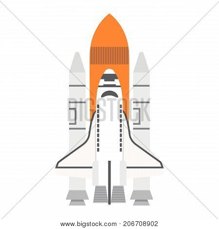 Space Shuttle flat icon, transport and space vehicle, rocket sign vector graphics, a colorful solid pattern on a white background, eps 10.