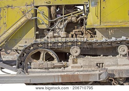 part of modern excavator machines isolated on white background