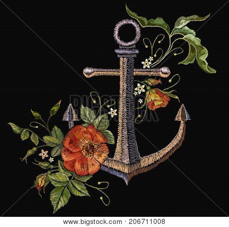 Anchor and red roses embroidery. Classical fashionable embroidery vintage anchor beautiful red bouquets of roses template for clothes textile t-shirt design