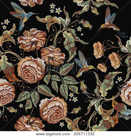 Roses embroidery seamless pattern. Classical embroidery vintage buds of roses and humming birds. Fashionable template for design of clothes t-shirt design tapestry flowers renaissance style