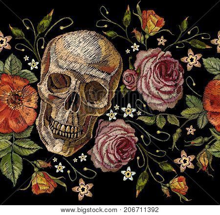 Embroidery skull and roses seamless pattern. Dia de muertos day of the dead art. Gothic romanntic embroidery human skulls red roses and pink peonies pattern clothes template and t-shirt design