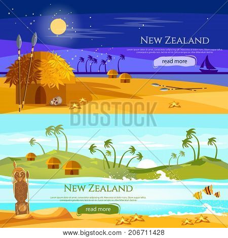 New Zealand banners. Mountains and beach landscape natives. Village of aboriginals Maori of New Zealand. Tradition and culture New Zealand