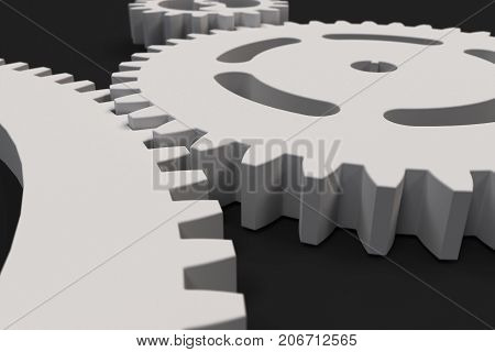 Set Of White Gears And Cogs On Black Background