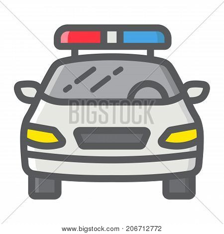 Police car filled outline icon, transport and automobile, cop sign vector graphics, a colorful line pattern on a white background, eps 10.