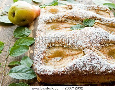 Fresh baked sweet pear pie. Shallow dof.