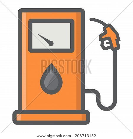 Gas station filled outline icon, petrol and fuel, pump sign vector graphics, a colorful line pattern on a white background, eps 10.