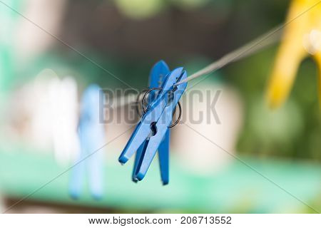 clothespin on a clothesline . In the park in nature