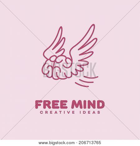 Free mind outline logo template design. Vector illustration.