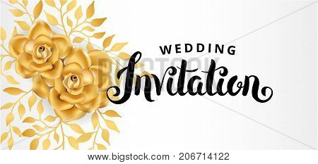 Gold Flower wedding paper invitation for weddings, background, anniversary marriage, engagement, birthday. Golden leaf, Save the date. For flyer, invite, greeting card, greetings card congratulation