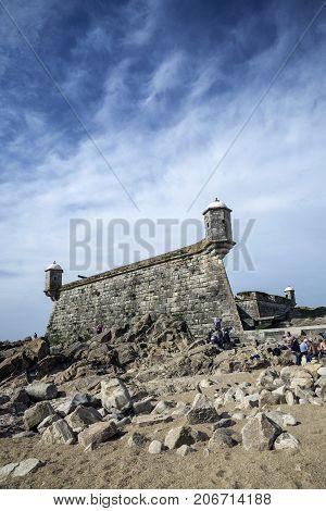 castelo do queijo old fort landmark in foz do douro beach district of porto portugal