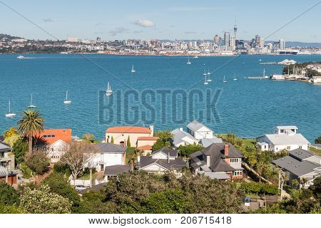 houses in Devonport suburb with Auckland CBD in background