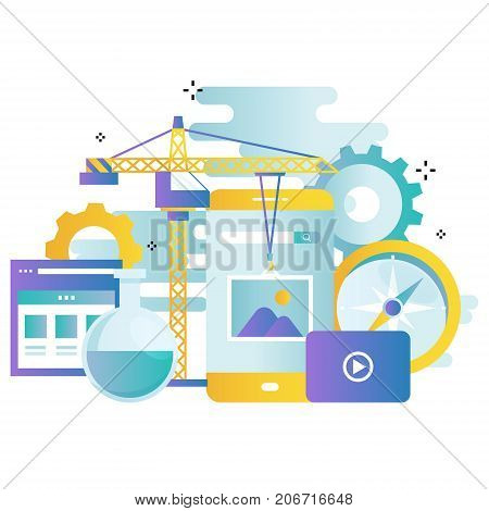 Application development gradient color business vector illustration design banner, software API prototyping and testing background. Smartphone interface building process, website coding concept