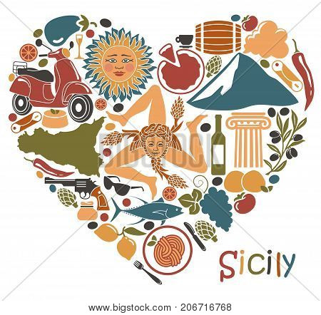 Traditional symbols of nature cuisine and culture of Sicily. Set of icons in the form of a heart