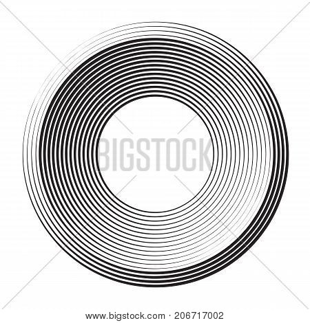 round shape from concentric halftone circles. vector element for design