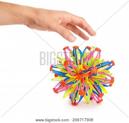 Colored Transformer Ball In Hand Isolated On White Background