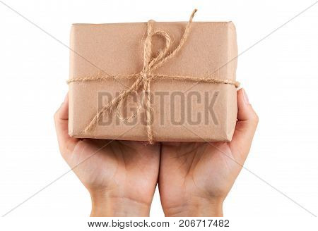 Eco Gift Box From Kraft Paper In Hand Isolated On White Background