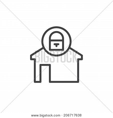 Home locked line icon, outline vector sign, linear style pictogram isolated on white. House with lock symbol, logo illustration. Editable stroke