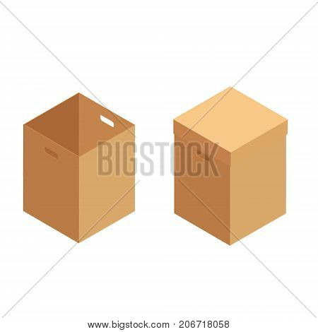 Vector illustration collection set recycle brown box packaging. Cardboard box mockup set. Realistic illustration of 10 cardboard box mockups for web. Brown delivery icon set