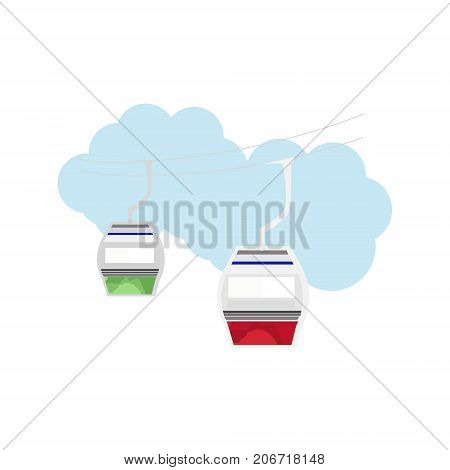 Vector illustration of flat cable car. Cable way transportation icon . Cable car for personal and tourist transport.