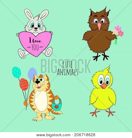 Collection of cute little animals bunny cat chicken owl. Vector cartoon illustration can be used for baby t-shirt print design baby shower greeting and invitation card.