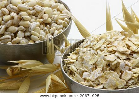 Oat Grain And Oat-flakes With Spikes