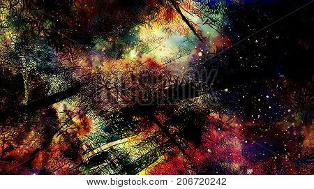 Cosmic space and stars, color cosmic abstract background and Black Fractal structure