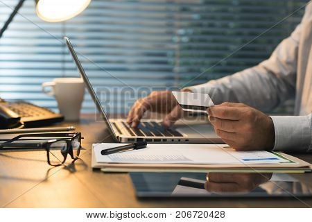 Businessman Doing Online Banking