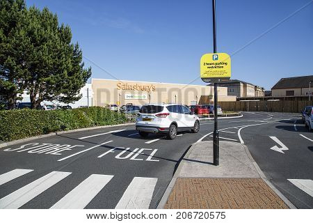 Swansea, UK: June 17, 2017: Sainsbury's Supermarket entrance in Swansea's SA1 district. There is time restricted parking on site with a financial penalty if you overstay the free 2 hour limit.