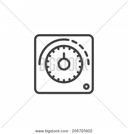 Thermostat line icon, outline vector sign, linear style pictogram isolated on white. Symbol, logo illustration. Editable stroke