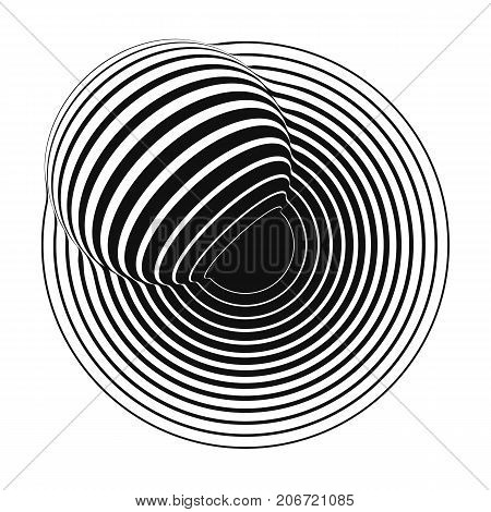 concentric circles with striped sphere. vector backdrop
