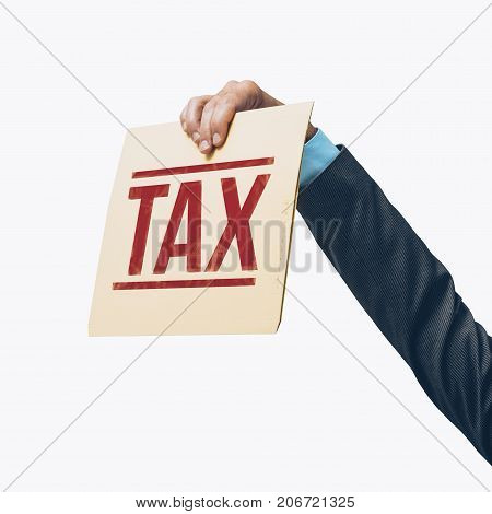 Businessman holding a tax file on white background tax refunds and payments concept