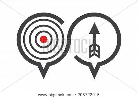 Chat discussion icon about solution or target how to success concept present by arrow and aim vector illustration.